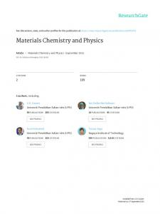 Materials Chemistry and Physics