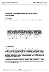 Materials, critical materials and clean-energy technologies