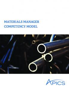 Materials Manager Competency Model - Apics
