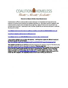 Materials to Educate Children About Homelessness Homelessness ...