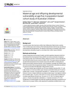 Maternal age and offspring developmental vulnerability at age ... - PLOS