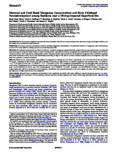 Maternal and Cord Blood Manganese Concentrations and Early ...