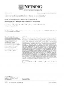 Maternal and neonatal factors related to prematurity - SciELO