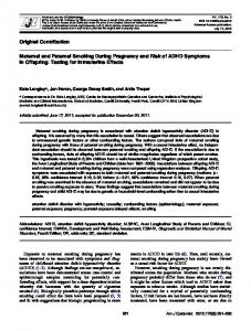Maternal and Paternal Smoking During Pregnancy and Risk of ADHD ...