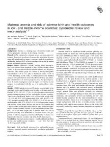 Maternal anemia and risk of adverse birth and health ...