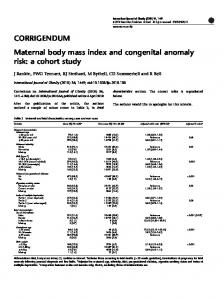 Maternal body mass index and congenital anomaly risk: a ... - Nature