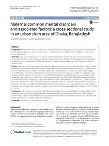 Maternal common mental disorders and