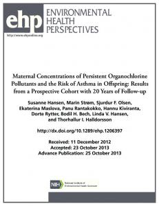 Maternal Concentrations of Persistent Organochlorine Pollutants and ...
