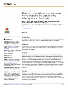 Maternal consumption of green tea extract during pregnancy ... - PLOS