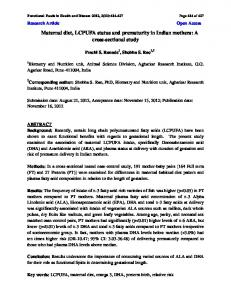 Maternal diet, LCPUFA status and prematurity in Indian mothers: A ...