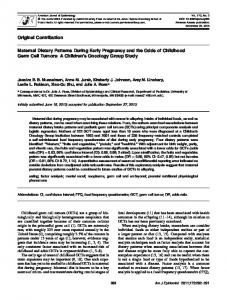 Maternal Dietary Patterns During Early Pregnancy and the Odds of ...
