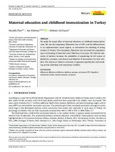 Maternal education and childhood immunization ... - Wiley Online Library