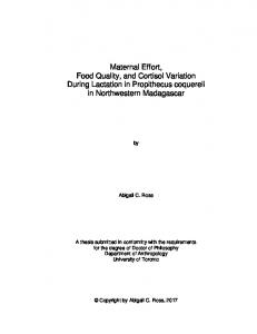Maternal Effort, Food Quality, and Cortisol Variation During Lactation ...