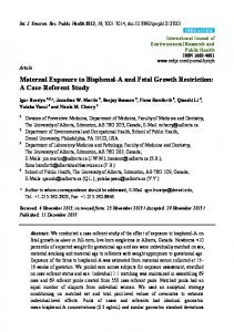 Maternal Exposure to Bisphenol-A and Fetal Growth ... - BioMedSearch