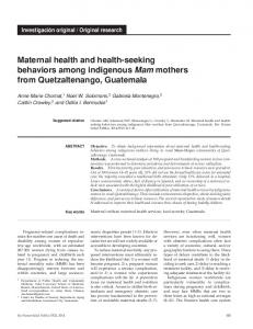 Maternal health and health-seeking behaviors ... - Scielo Public Health