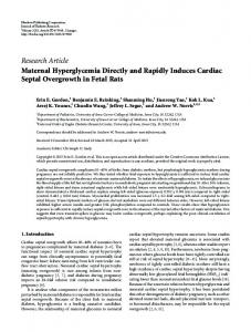 Maternal Hyperglycemia Directly and Rapidly Induces Cardiac Septal ...