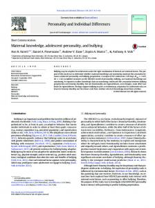 Maternal knowledge, adolescent personality, and ...