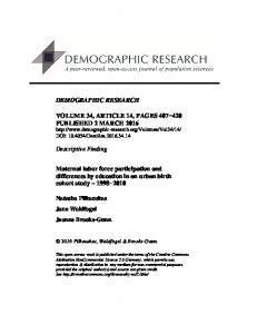 Maternal labor force participation and differences by education in an ...