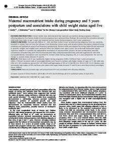 Maternal macronutrient intake during pregnancy and 5 years ... - Nature