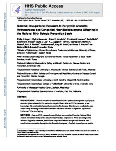 Maternal Occupational Exposure to Polycyclic Aromatic Hydrocarbons ...