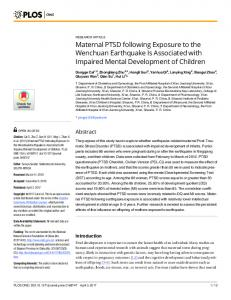 Maternal PTSD following Exposure to the Wenchuan ... - PLOS