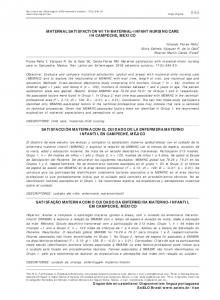 Maternal satisfaction with maternal-infant nursing care in Campeche ...