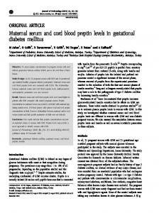 Maternal serum and cord blood preptin levels in gestational ... - Nature