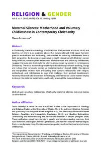 Maternal Silences: Motherhood and Voluntary Childlessness in ...