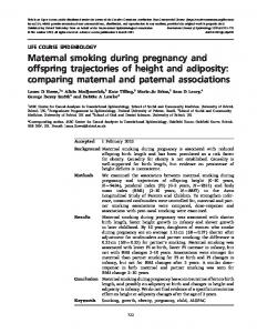 Maternal smoking during pregnancy and offspring ... - Oxford Journals