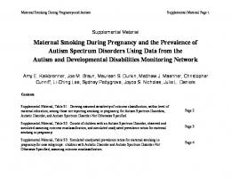 Maternal Smoking During Pregnancy and the ... - CDC Stacks