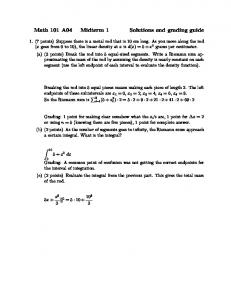 Math 101 A04 Midterm 1 Solutions and grading guide