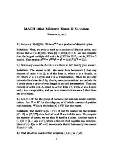 MATH 103A Midterm Exam II Solutions