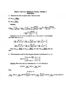 Math 113/114, Midterm Exam, Version I Solutions