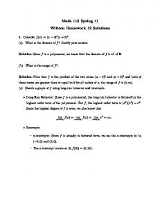 Math 115 Spring 11 Written Homework 12 Solutions