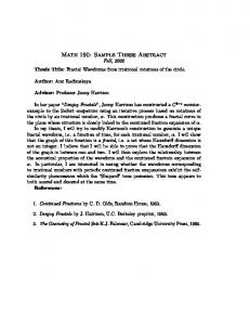 Math 190: Sample Thesis Abstract