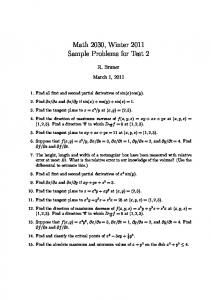 Math 2030, Winter 2011 Sample Problems for Test 2
