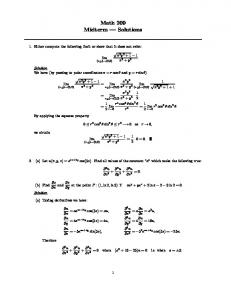 Math 209 Midterm — Solutions