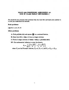MATH 3320 HOMEWORK ASSIGNMENT #1 DUE IN CLASS ...