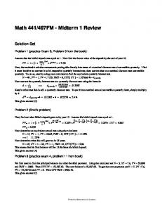 Math 441 Midterm 1 Review Solutions