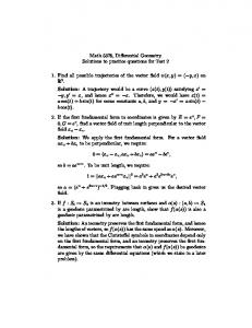 Math 5378, Differential Geometry Solutions to practice questions for ...