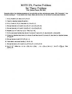 MATH 574, Practice Problems Set Theory Problems