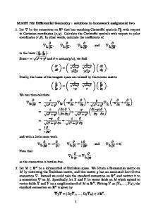 MATH 782 Differential Geometry : solutions to homework ...