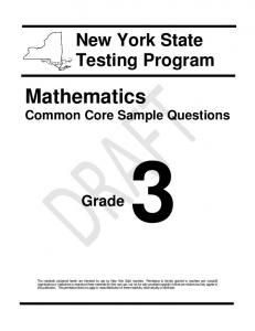 Math Common Core Sample Questions - Grade 3