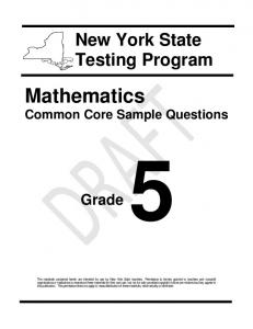 Math Common Core Sample Questions - Grade 5