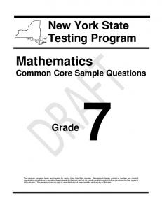 Math Common Core Sample Questions - Grade 7