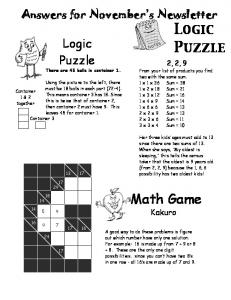 Math Game Logic Puzzle Answers for November's Newsletter