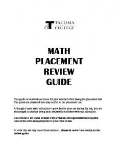 MATH PLACEMENT REVIEW GUIDE