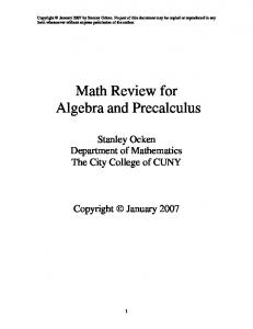 Math Review for Algebra and Precalculus