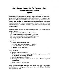 Math Review Preparation for Placement Test Wayne Community ...