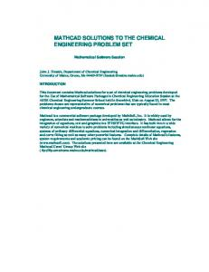 mathcad solutions to the chemical engineering problem set